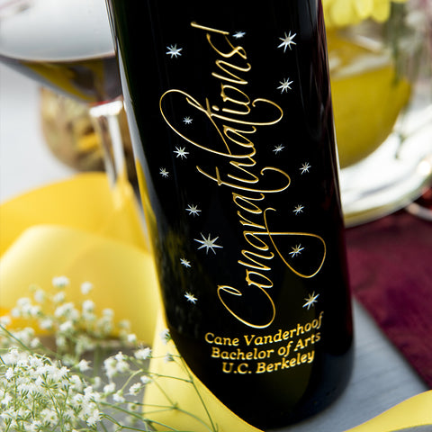Graceful Congratulations Etched Wine