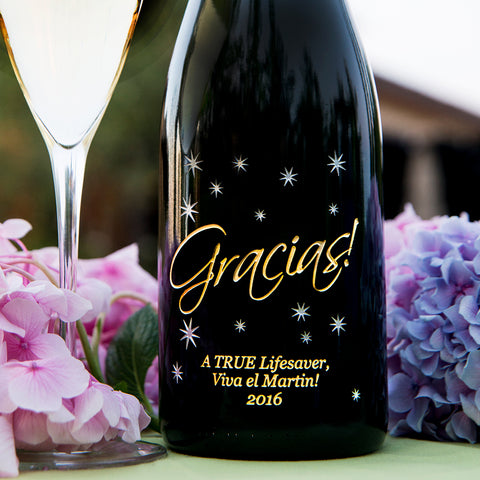Gracias in the Stars Etched Wine