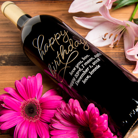 Beloved Happy Birthday Etched Wine