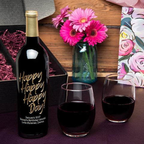 Happy Happy Happy Day Etched Wine Gift Set