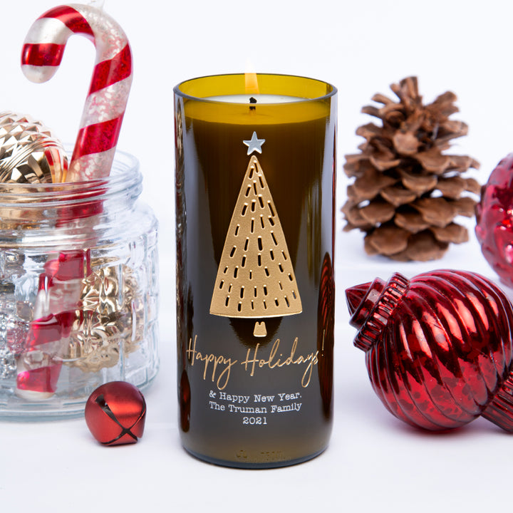 Happy Holidays Tree Personalized Candle