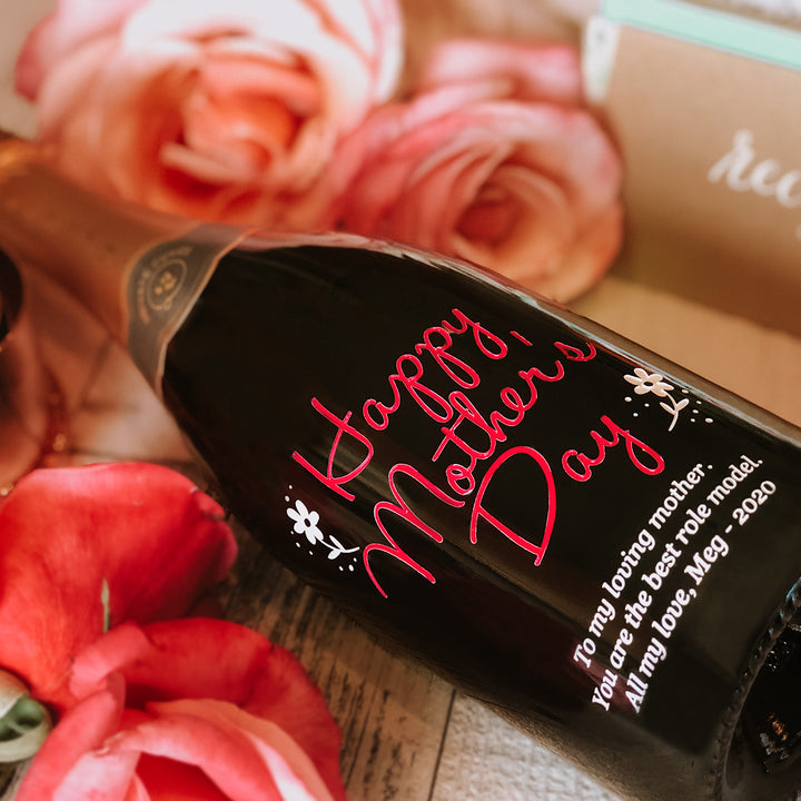 custom etched engraved red text mother's day wine bottle