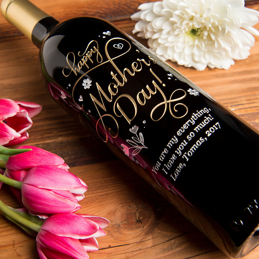 Joyful Mother's Day Etched Wine