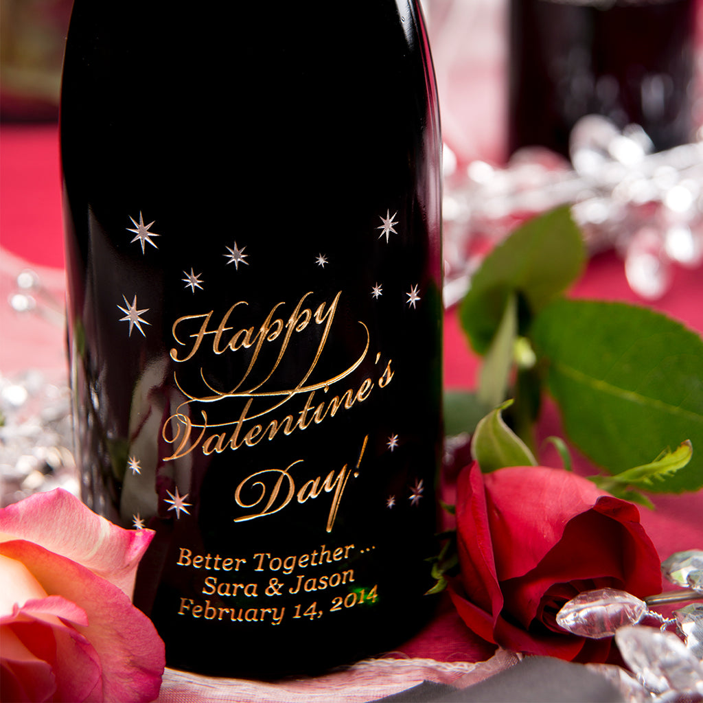 Happy Valentine's Day Etched Wine