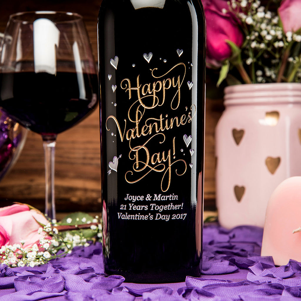 Joyful Valentine's Day Etched Wine