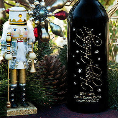 Graceful Holidays 3.0 Liter Bottle Etched Wine