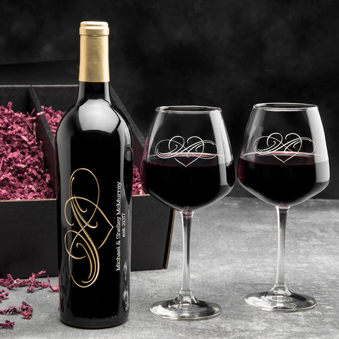 Classic Infinity Etched Wine Gift Set