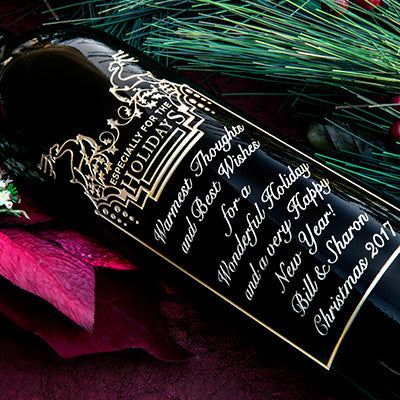 Holiday Reindeer Etched Wine