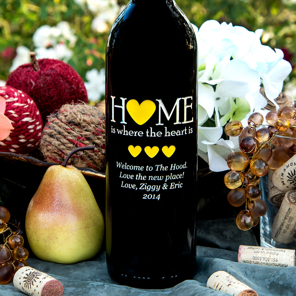 Home is Where the Heart is Etched Wine