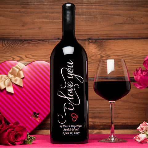 I Love You 1.5 Liter Etched Wine