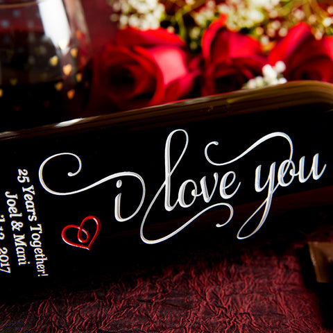 I Love You Etched Wine