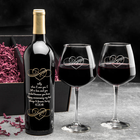 Inspired Infinity Etched Wine Gift Set