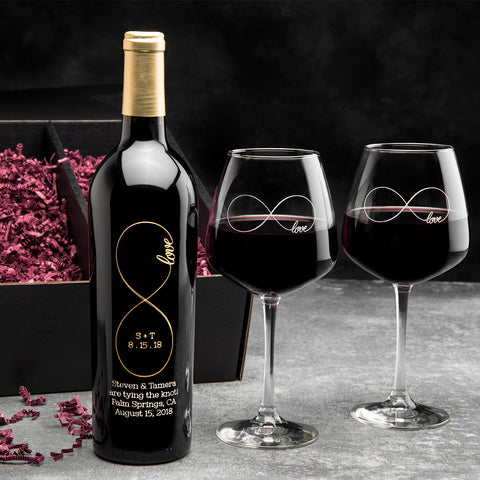 Original Infinity Etched Wine Gift Set