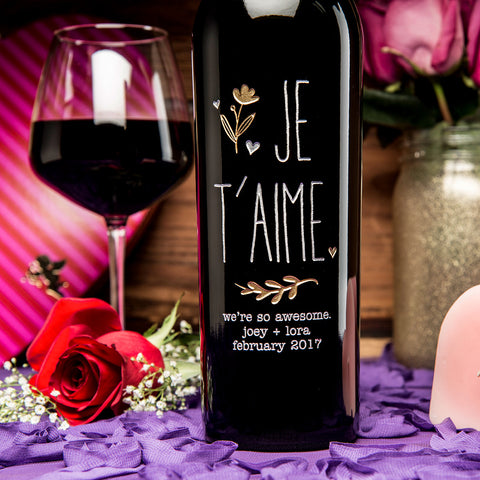 JE T'AIME Etched Wine