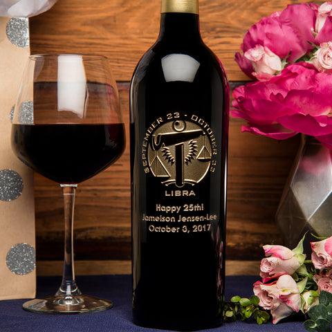 Libra Birthday Etched Wine