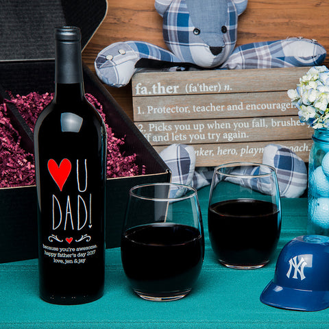Love U Dad! Etched Wine Gift Set