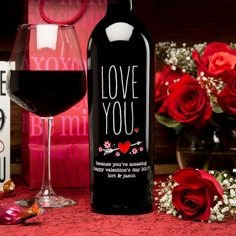 LOVE YOU Etched Wine