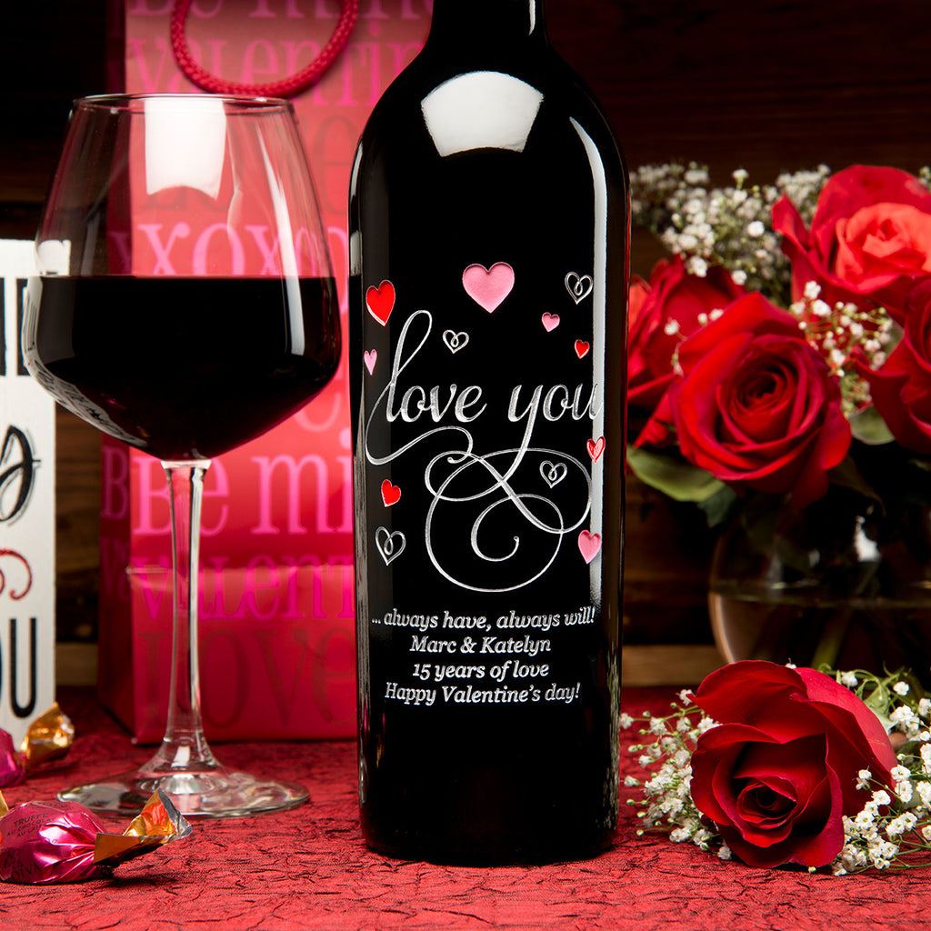 Love You in Hearts Etched Wine