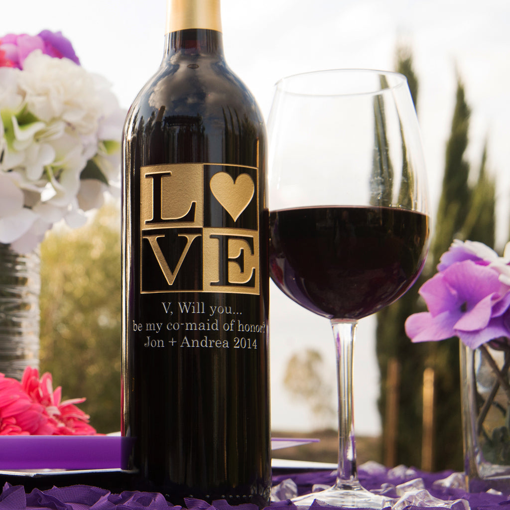 Love Frame with Heart Etched Wine
