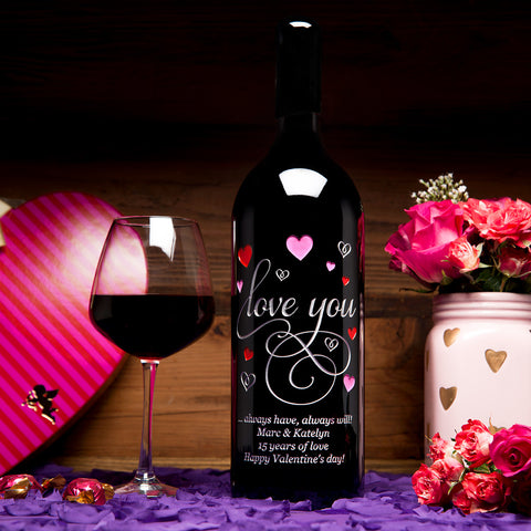 Love You in Hearts 1.5 Liter Etched Wine