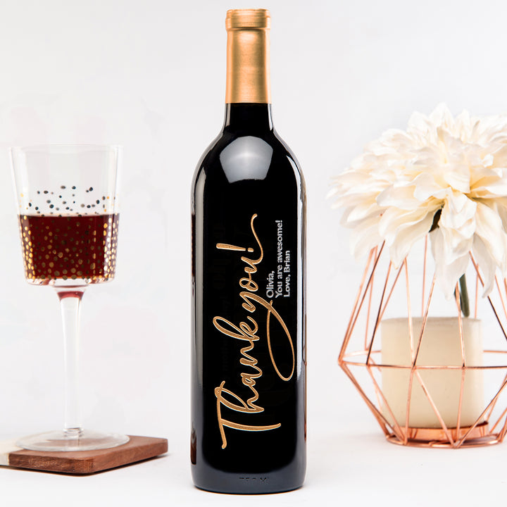 Thank you script personalized custom etched engraved wine bottle
