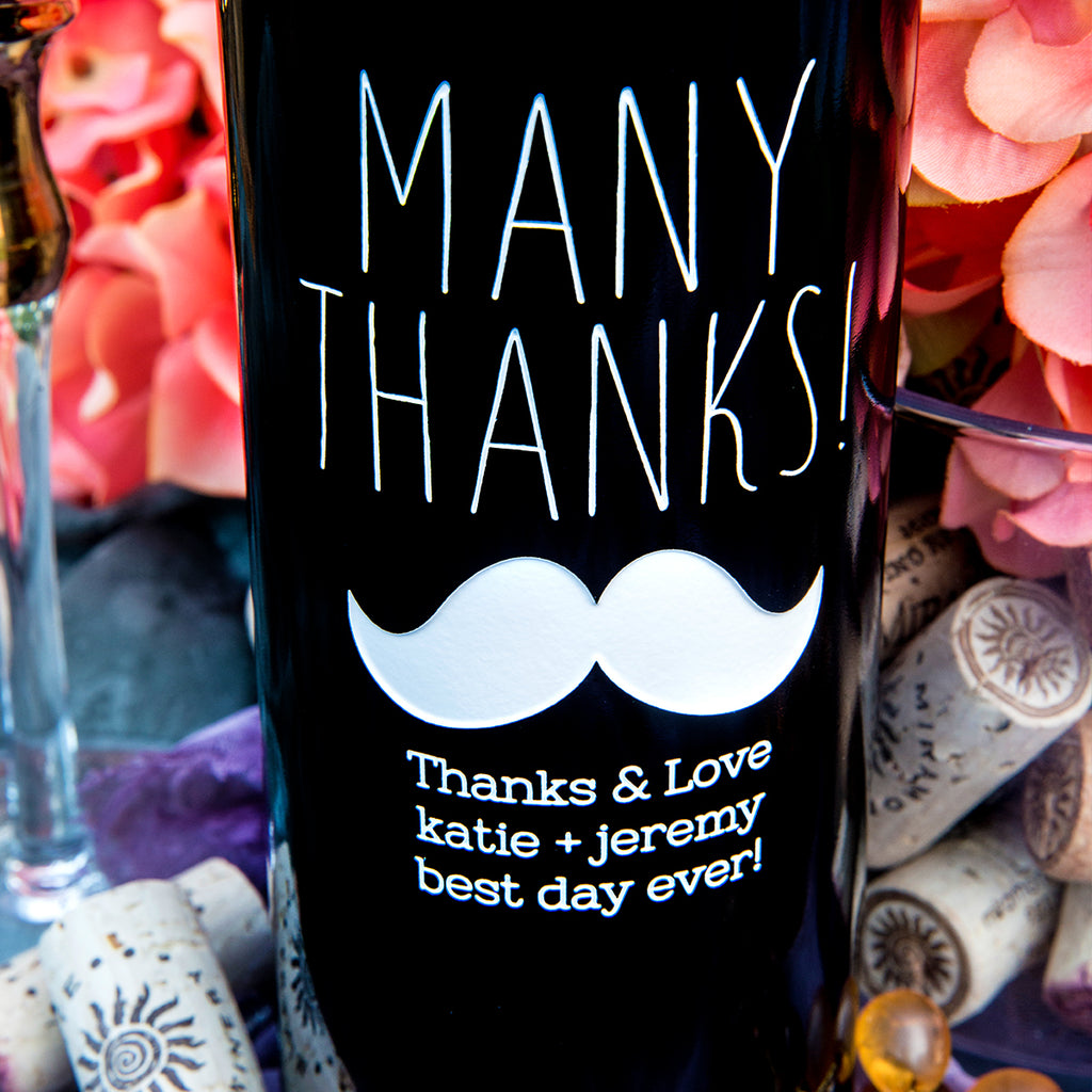 Many Thanks Etched Wine