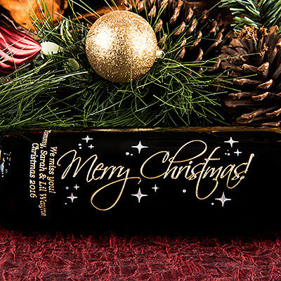 Graceful Merry Christmas! Etched wine