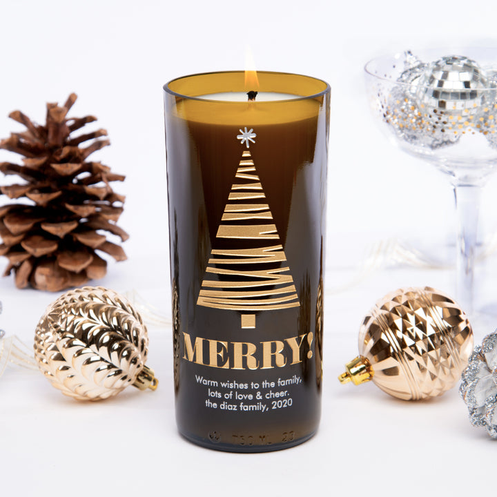 Merry Tree Personalized Candle