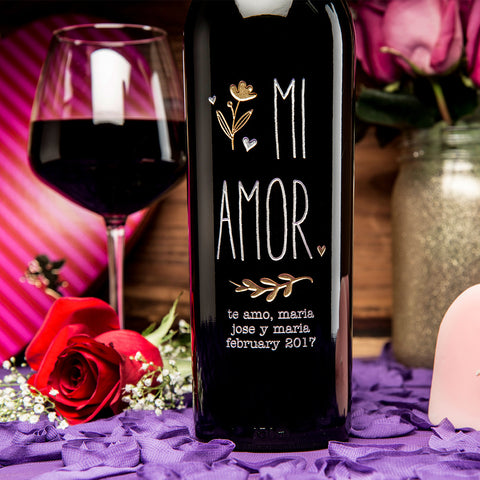 MI AMOR Etched Wine