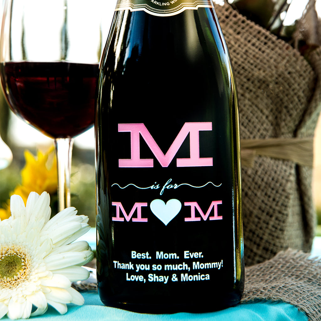 M is for Mom Etched Wine