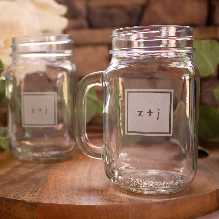 Modern Monogram Mason Jar Mugs