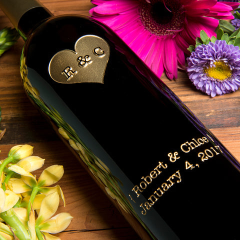 Monogram Heart Etched Wine