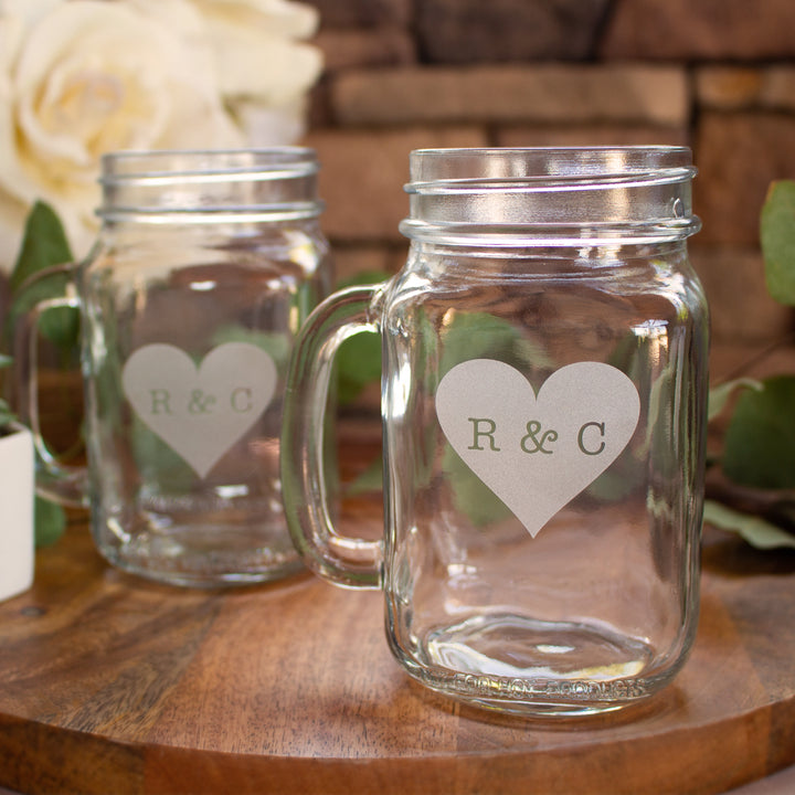 Heart Monogram Mason Jar