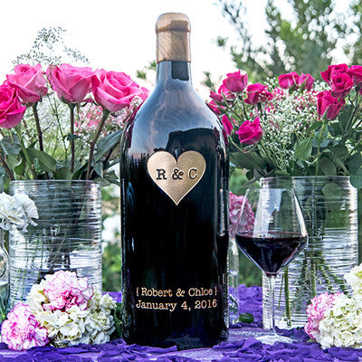 Monogram Heart 3.0 Liter Bottle Etched Wine