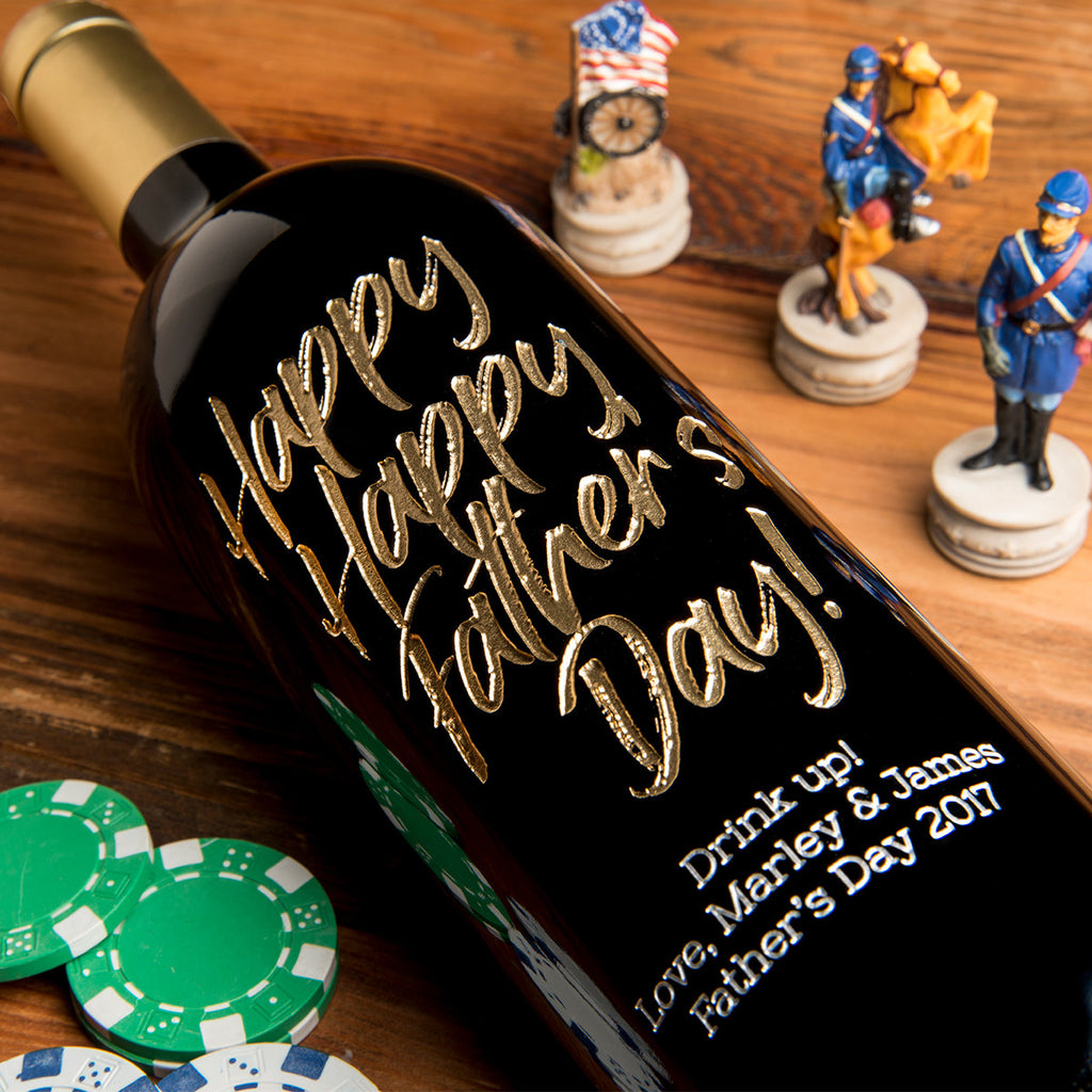 Happy Happy Father's Day Etched Wine