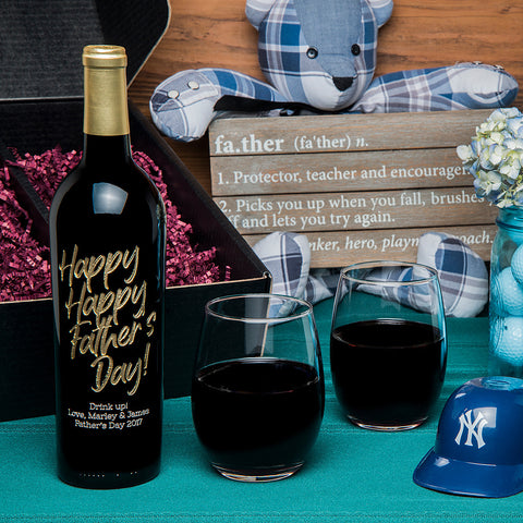 Happy Happy Father's Day Etched Wine Gift Set