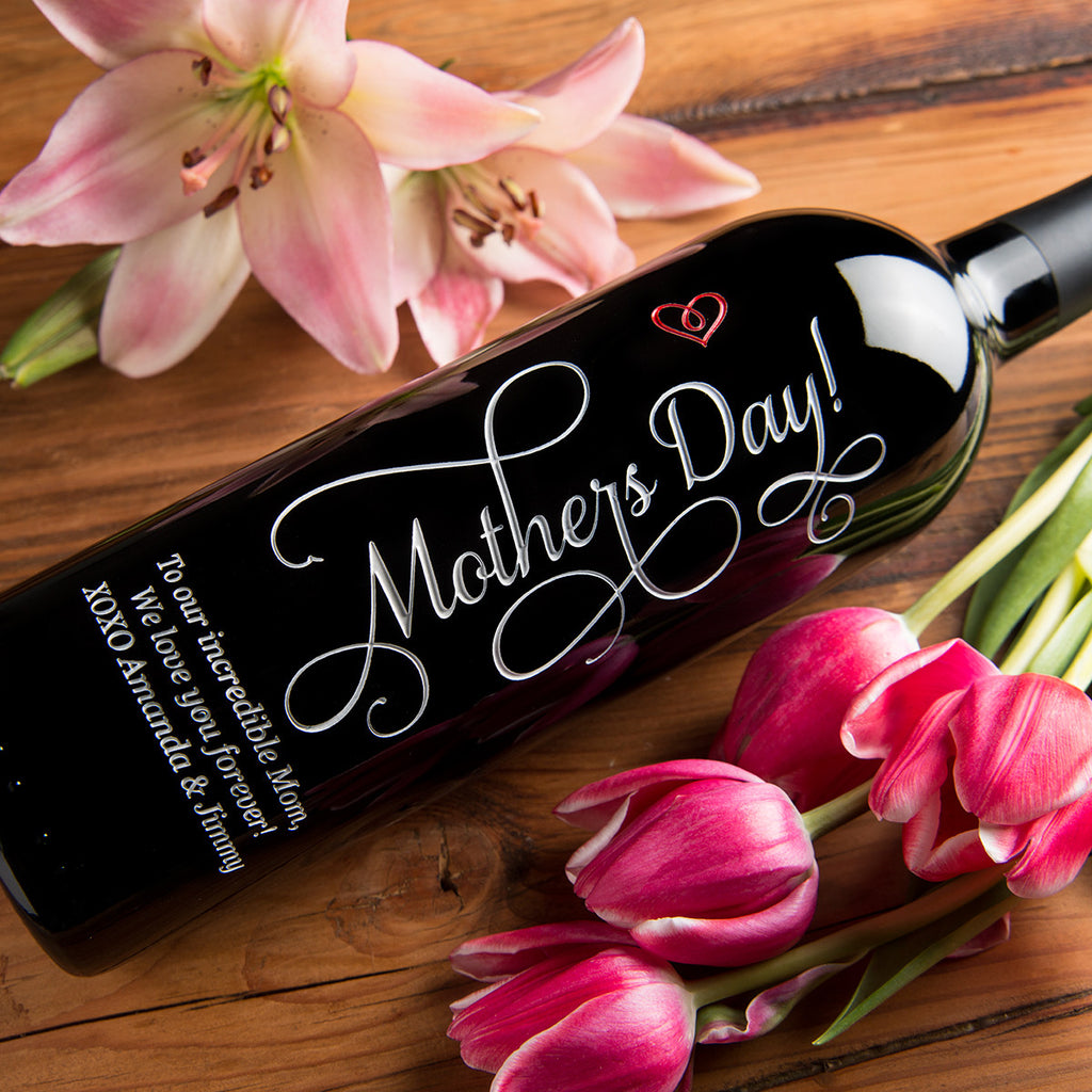 Mother's Day Etched Wine