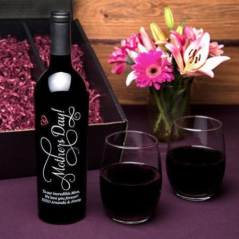 Mother's Day Etched Wine Gift Set