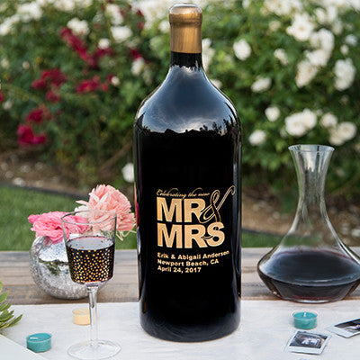 Mr. & Mrs. 3.0 Liter Bottle Etched Wine