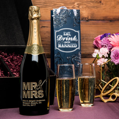 Mr & Mrs Etched Wine Gift Set