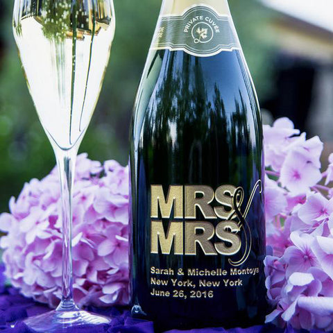 MRS. & MRS. Etched Wine