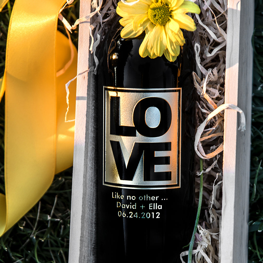New LOVE Etched Wine