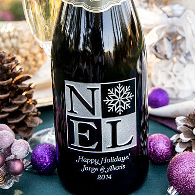 NOEL with Snowflake Etched Wine