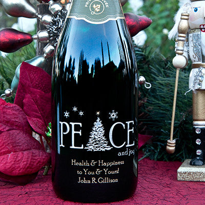 Peace & Joy  Etched Wine