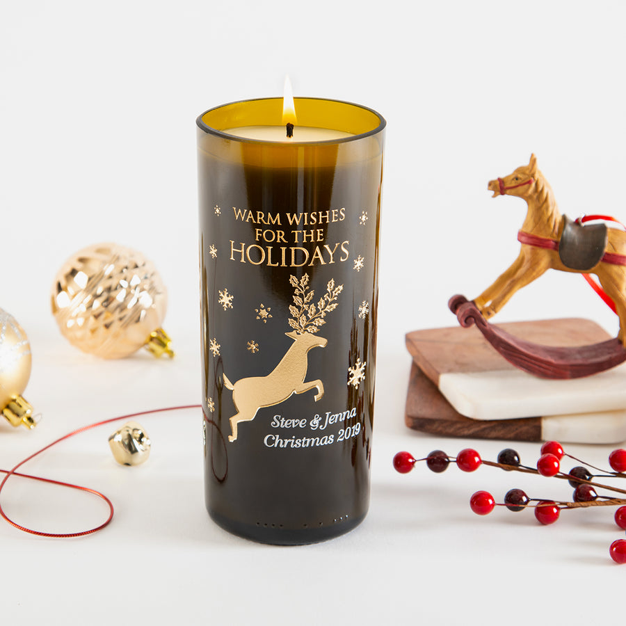 Reindeer & Snowflakes Personalized Candle