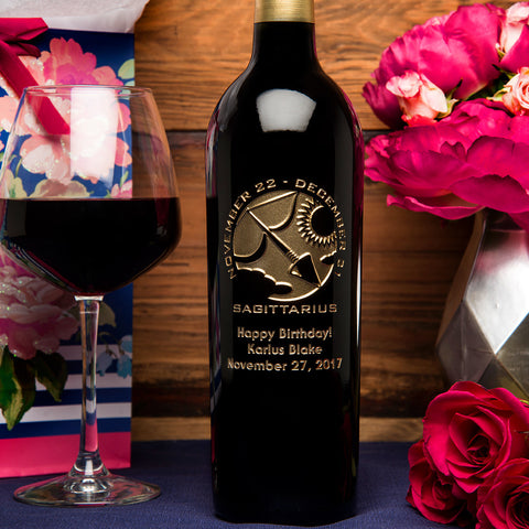 Sagittarius Birthday Etched Wine