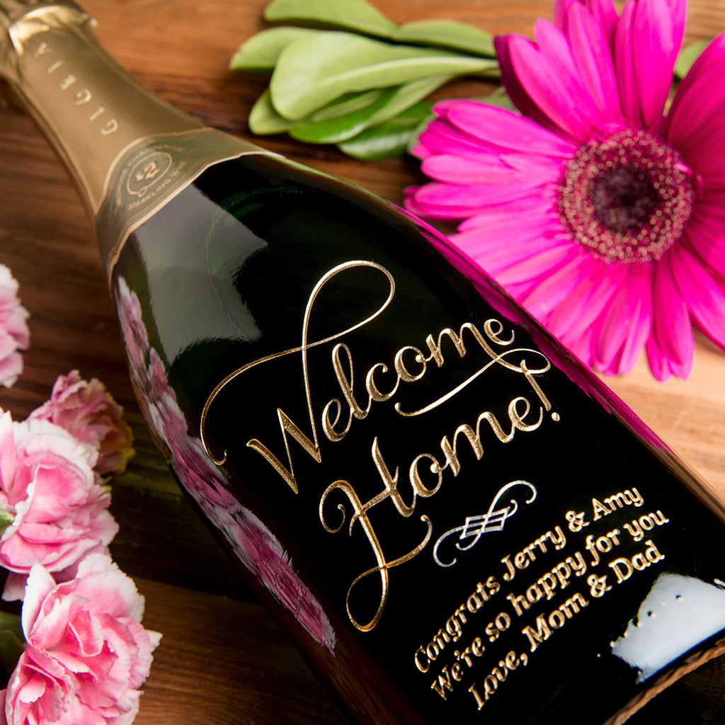 Joyful Welcome Home Etched Wine