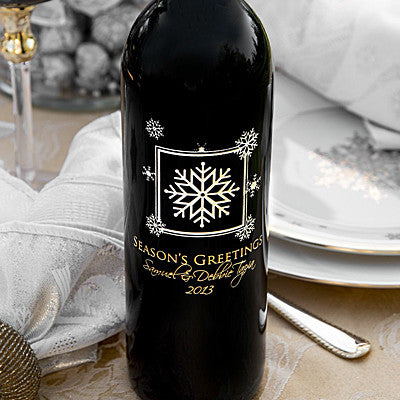 Snowflake Holiday Etched Wine