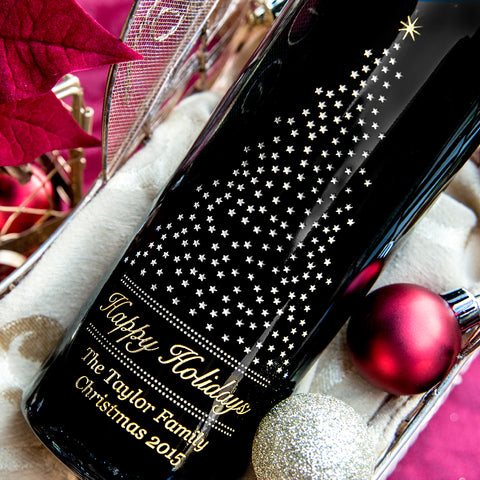 Starry Pine Etched Wine