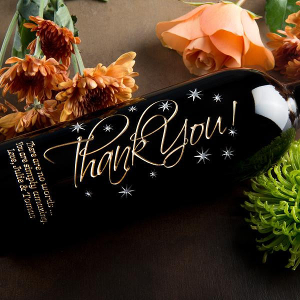 Graceful Thank You Etched Wine